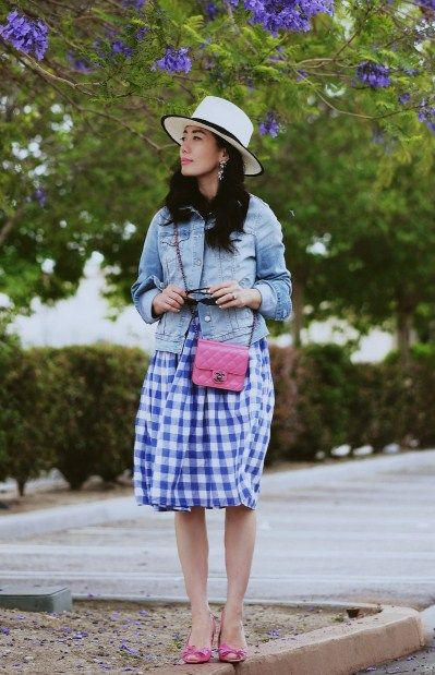 02ac8d1480036 4.15 weekend gingham (Gladys Tamez Millinery hat + Old Navy denim jacket +  Modcloth check date dress + Celine sandals + Chanel mini bag + Auden  earrings)