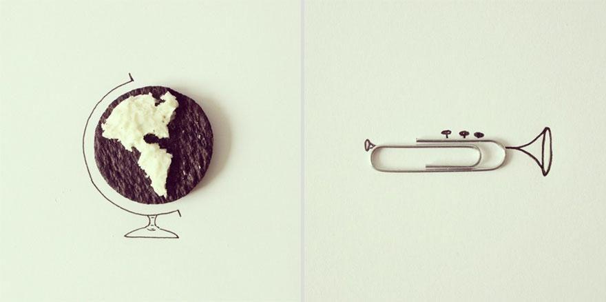 bola del mundo y clip >> ilustracion y objetos que construyen un mensaje único #inspiration