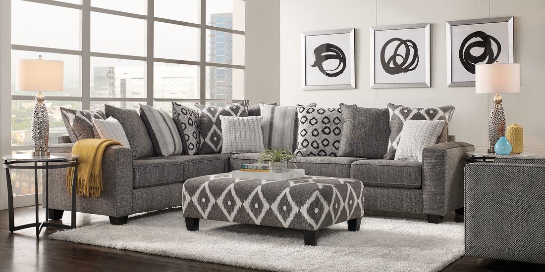 Carole Court Gray 2 Pc Sectional In 2020 Living Room Sectional