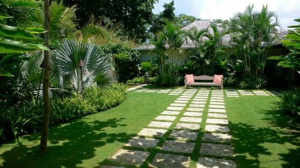 Balinese Thai Style Paving Path Compound Courtyard Gardening Classy Backyards Design Style