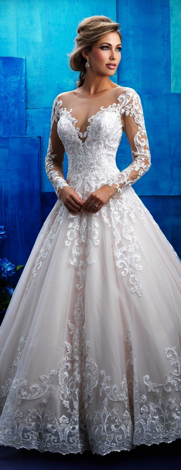 Lace wedding dress v neck november 2018 Lace Wedding Dresses Pnina Tornai Lace Wedding Gown Design  Wedding