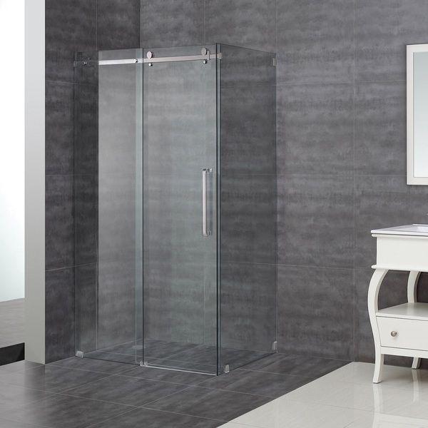 Aston 48 X 35 Inch Sliding Frameless Shower Enclosure Overstock