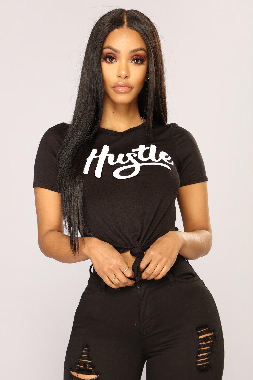 All About That Hustle Top Black Fashion nova tops