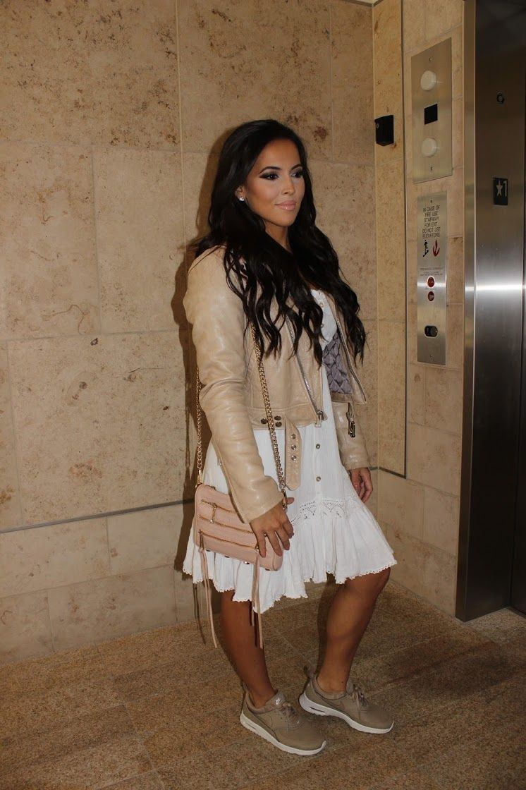 NUDE BEIGE LEATHER JACKET, WHITE FLARE BUTTON UP DRESS