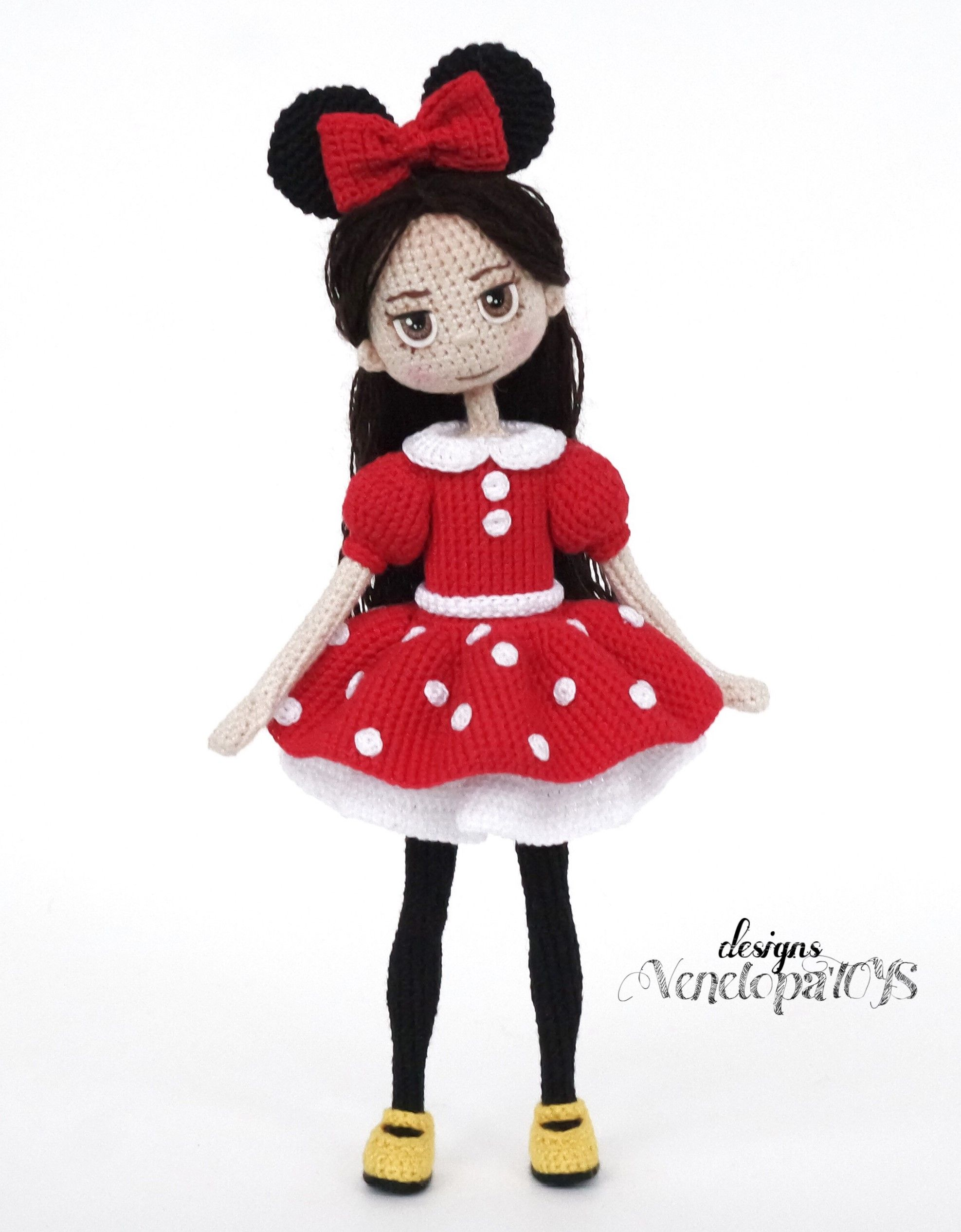 Crochet Doll in Minnie Mouse Costume (pattern pdf file) | Coraline