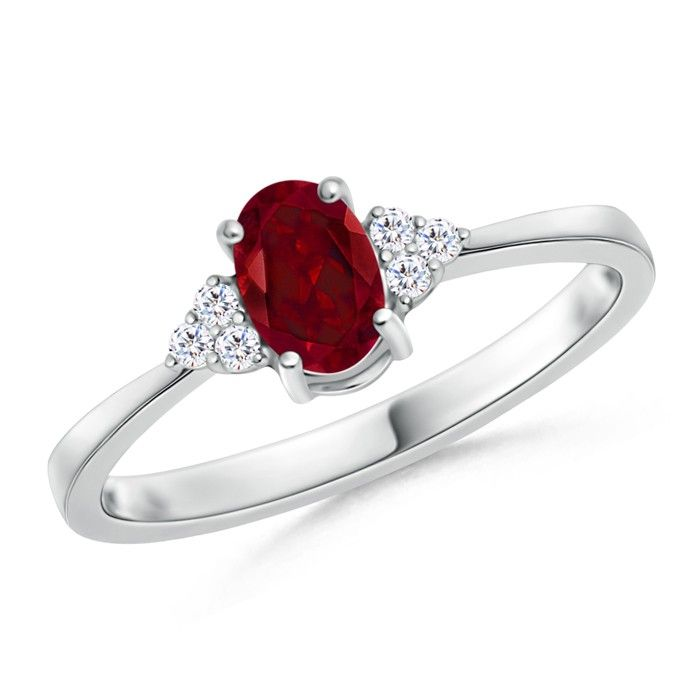 Angara Prong Set Trio Stone Ruby and Diamond Ring in 14k Yellow Gold 3vgVFVien