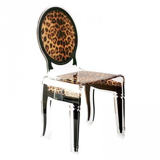 Chaise Sixteen Leopard Acrila Chaise Acrylique Chaise De Cuisine Design Chaise De Salle A Manger