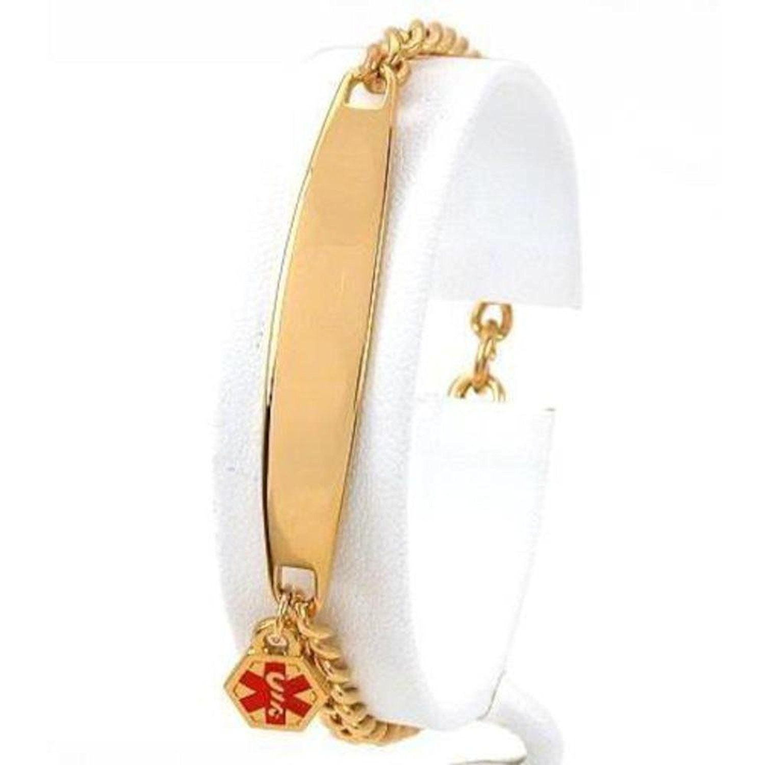 further information gold pin view for id medical to plated bracelet this