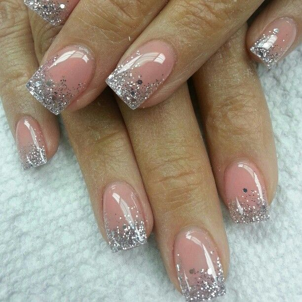 Silver gradient over cover pink nail design- I like this but would maybe  like better with nude color rather than pink - 150 Colorful Nail Designs For EVERY Color - Nail Designs For You