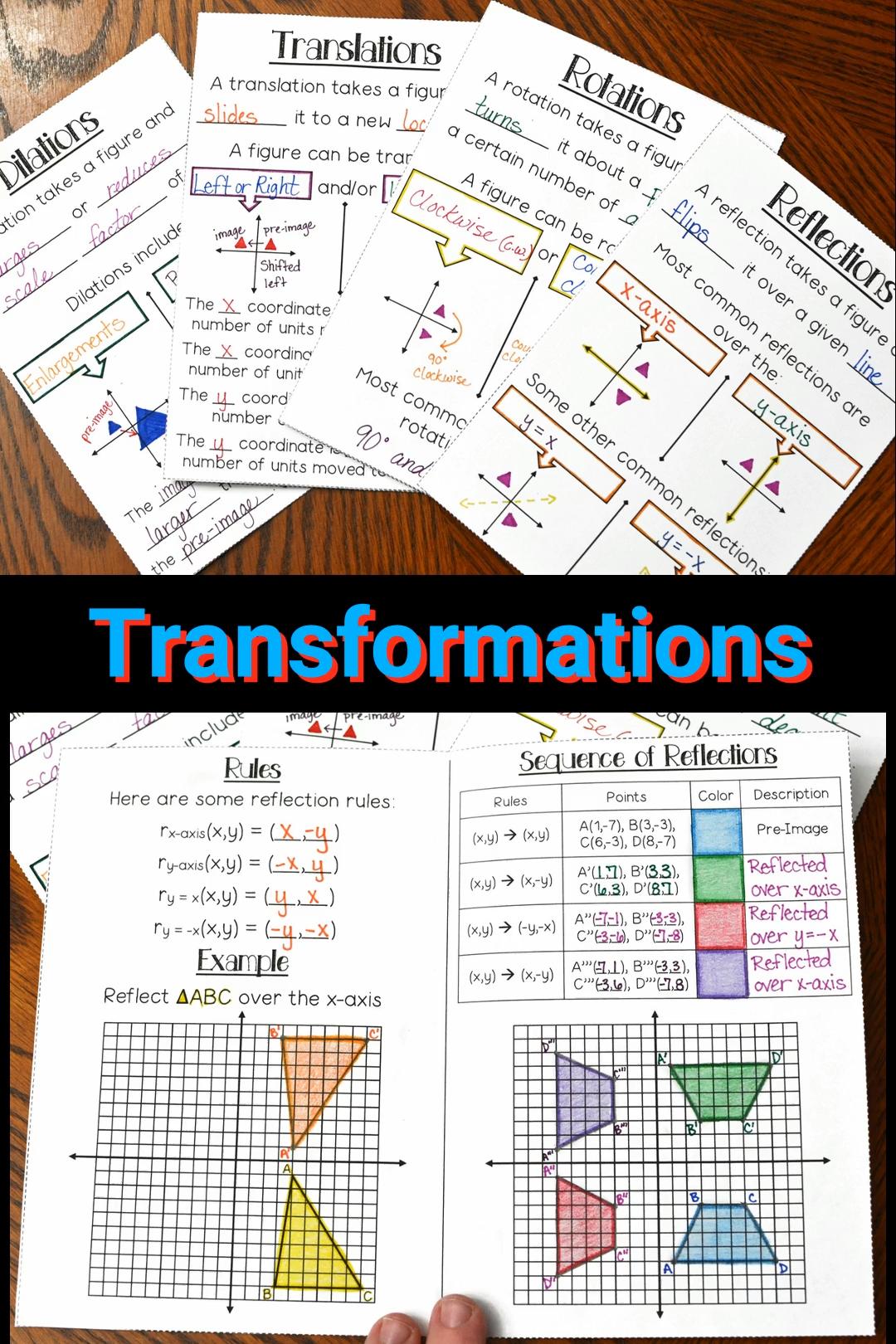 medium resolution of Transformations Booklet Video   Transformations math