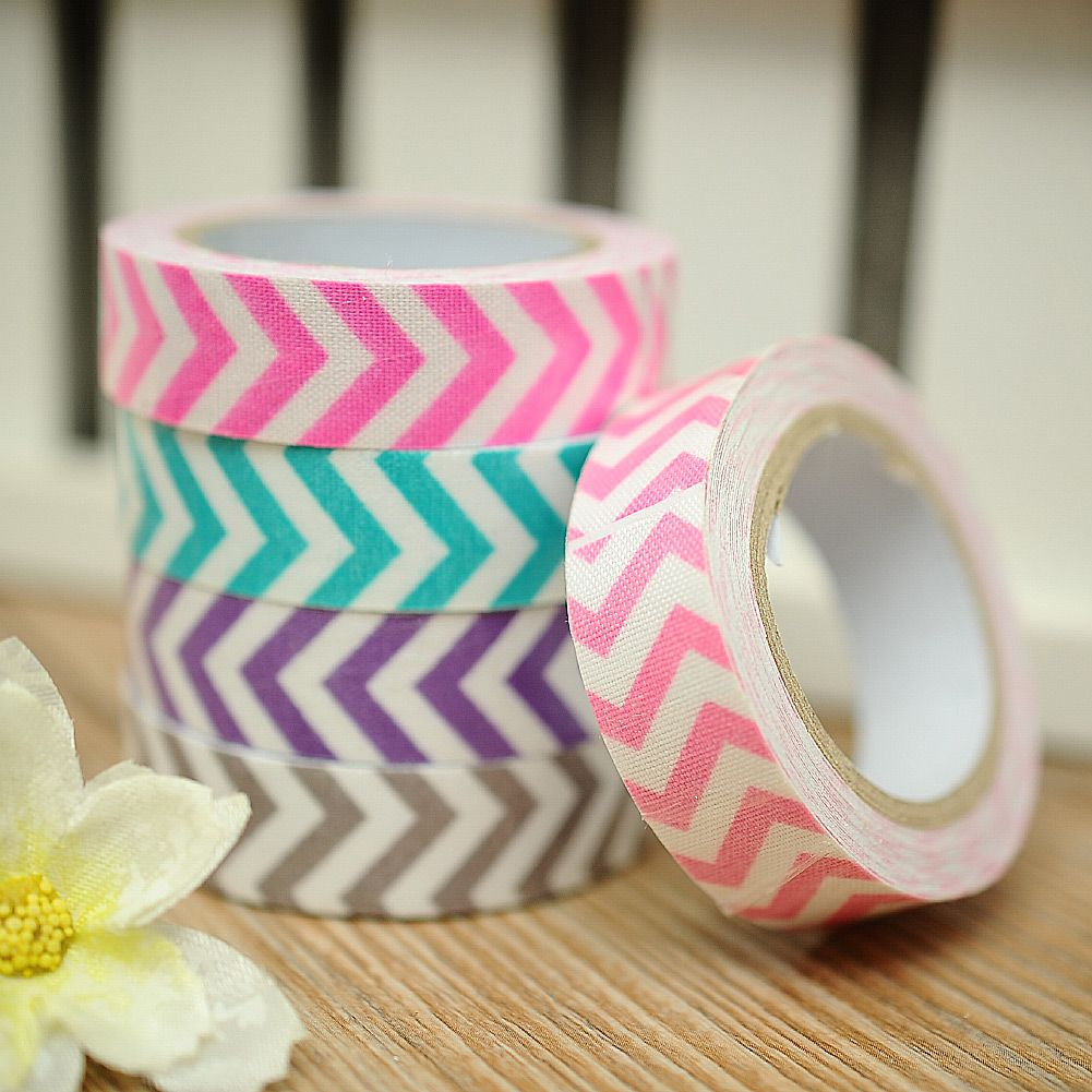 Stripe Washi Cotton Rolls Tape 15mm Roll Making Sticky Adhesive