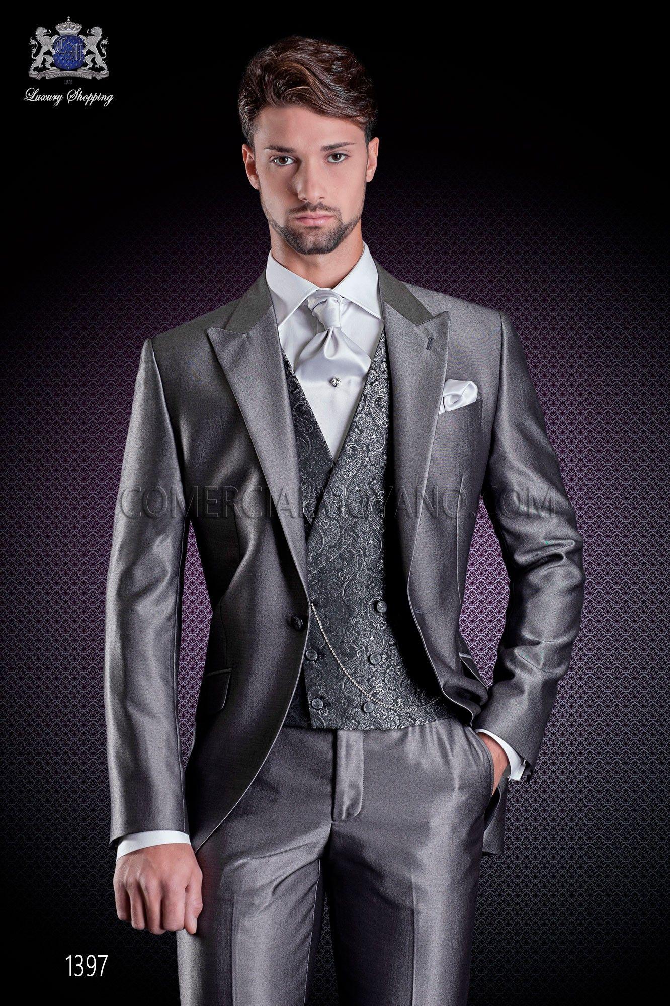 italienischer br utigam anzug mit schmal geschnittener grau aus new performance stoffen. Black Bedroom Furniture Sets. Home Design Ideas