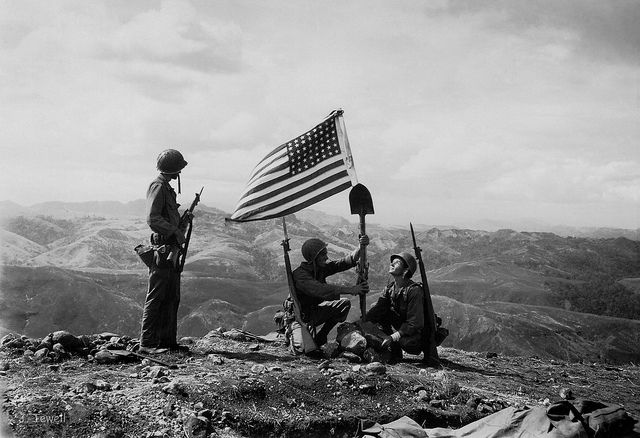 40th Division Us Army Raising The American Flag On Captured Hill