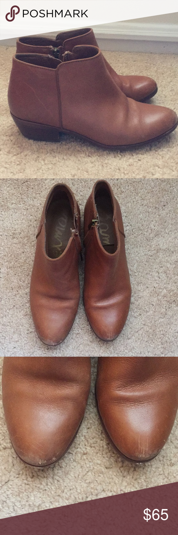 fe6016c76 Sam Edelman Petty Ankle Bootie in Cognac Leather Sam Edelman Petty Ankle  Booties in Cognac Leather. Slight scuffs on toes