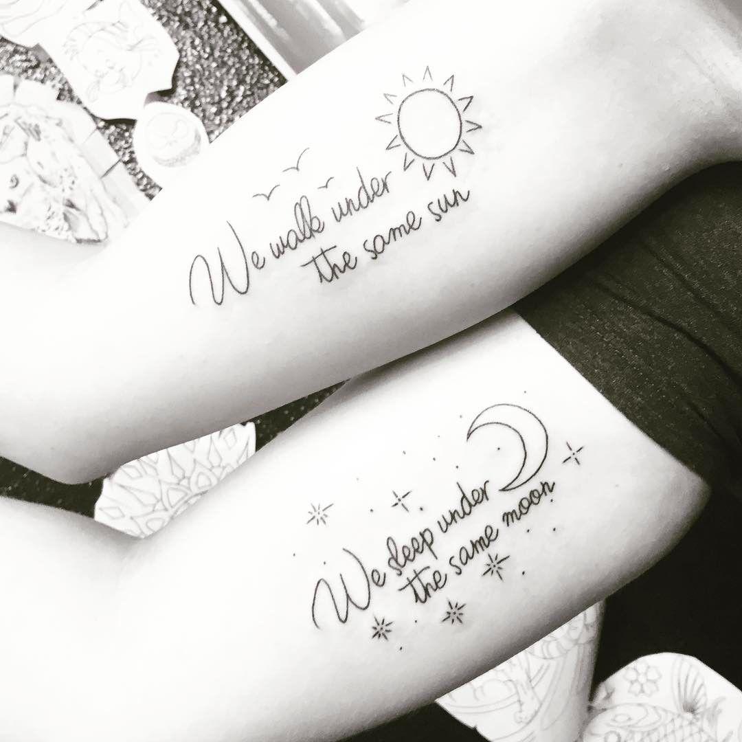 Best 20 Friendship Tattoo Quotes Ideas On Pinterest: Long Distance Friendship Sun-Moon Matching Bestfriend