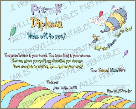 dr seuss graduation diploma or by partyvilleprintables on etsy