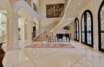 Carrara Marble Floors Entry Foyer Design Ideas Pictures