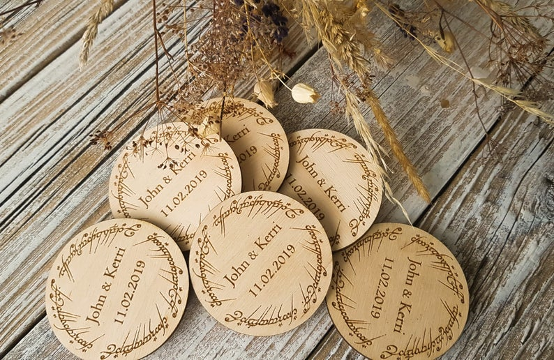 Wedding Wooden Save The Date Magnet
