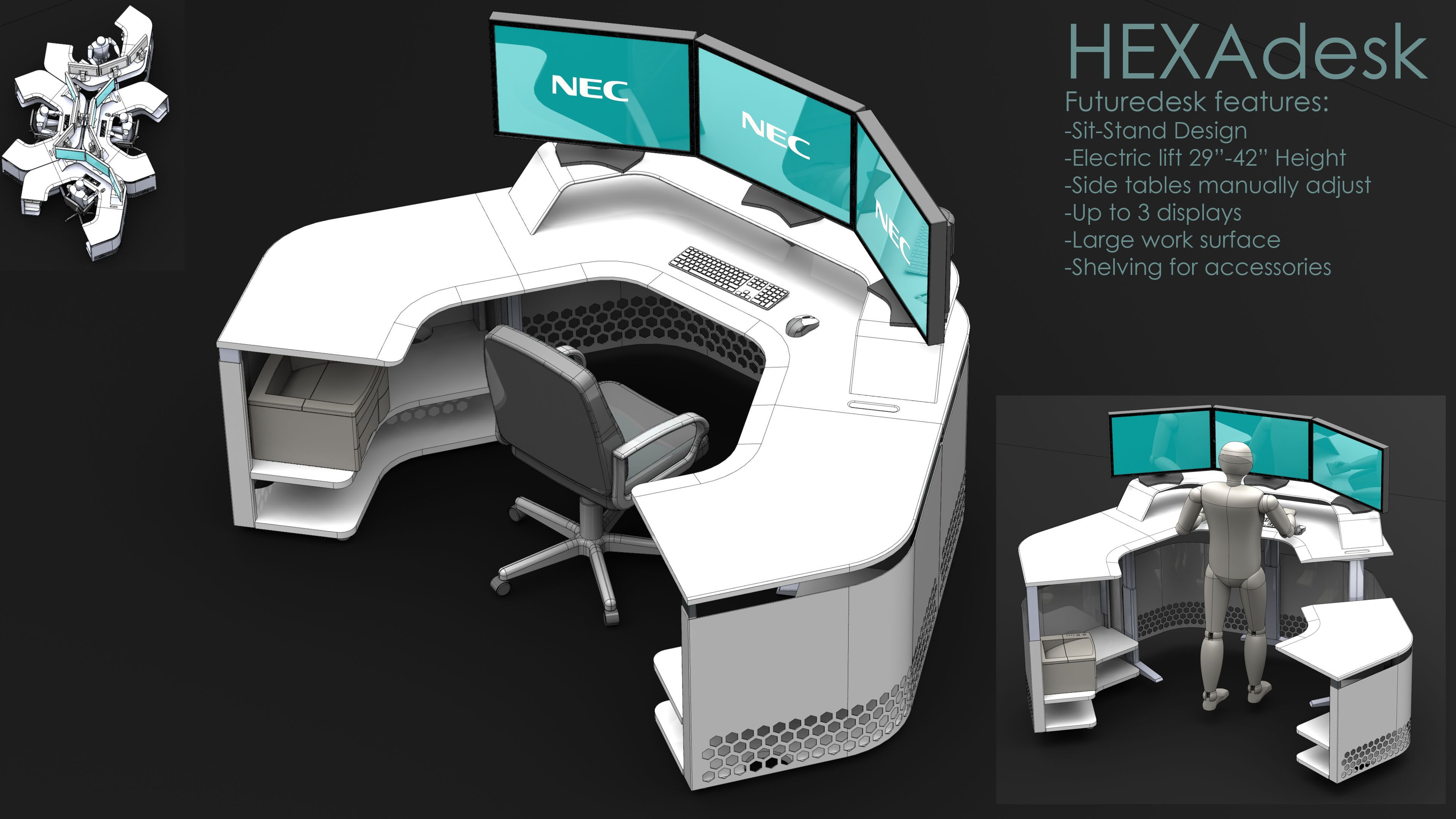 Futuredesk- HEXAdesk - SOLIDWORKS,STEP / IGES - 3D CAD model