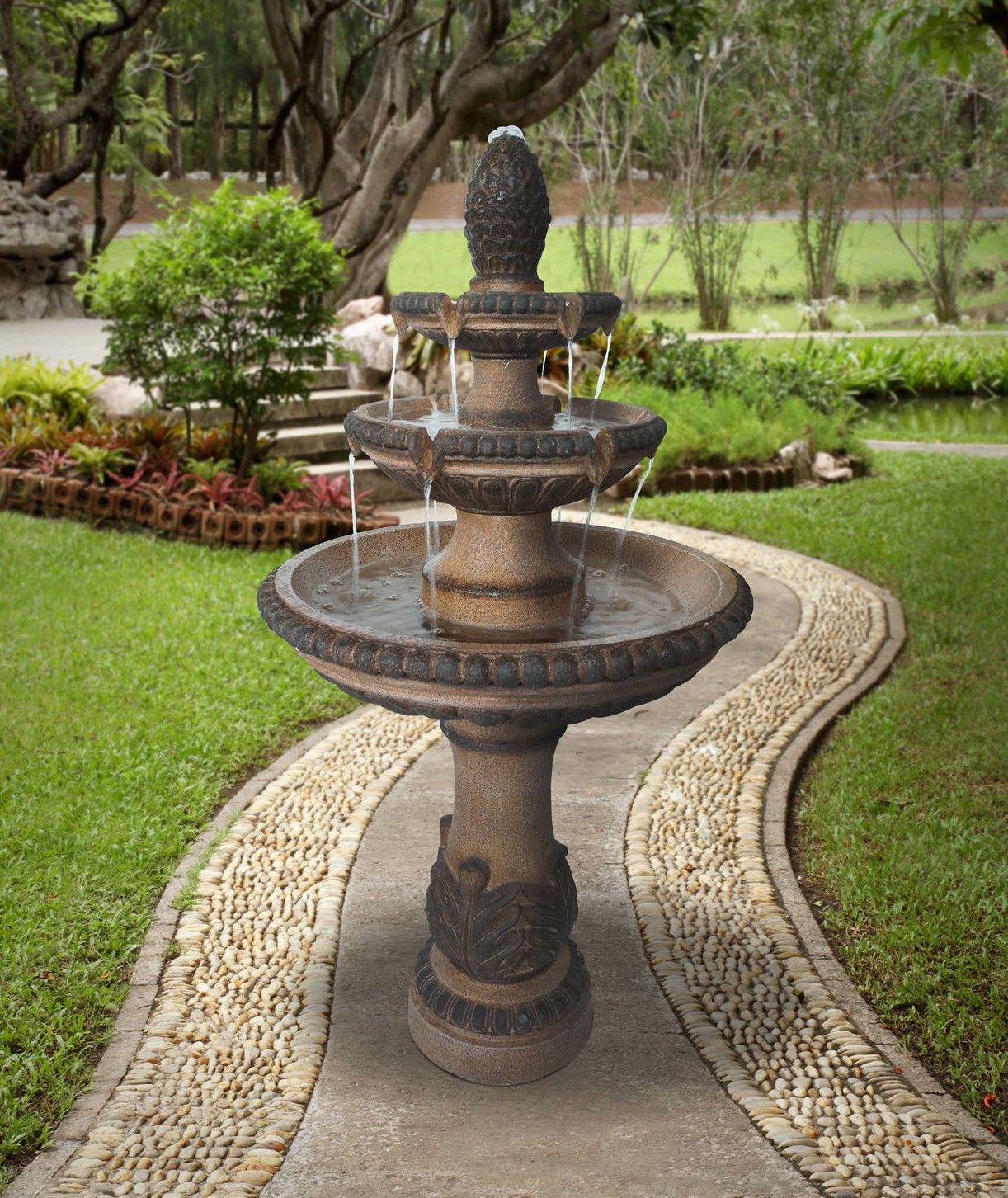 Outdoor Tiered Fountain Large Waterfall Cascade Stone 3 Tier Water Bird Bath Ebay Fountains Outdoor Large Outdoor Fountains Landscaping With Rocks