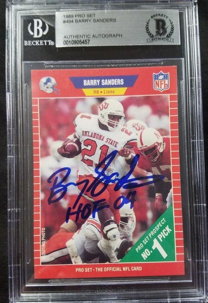 Ebay Sponsored 1989 Pro Set 494 Barry Sanders Hof 04 Signed