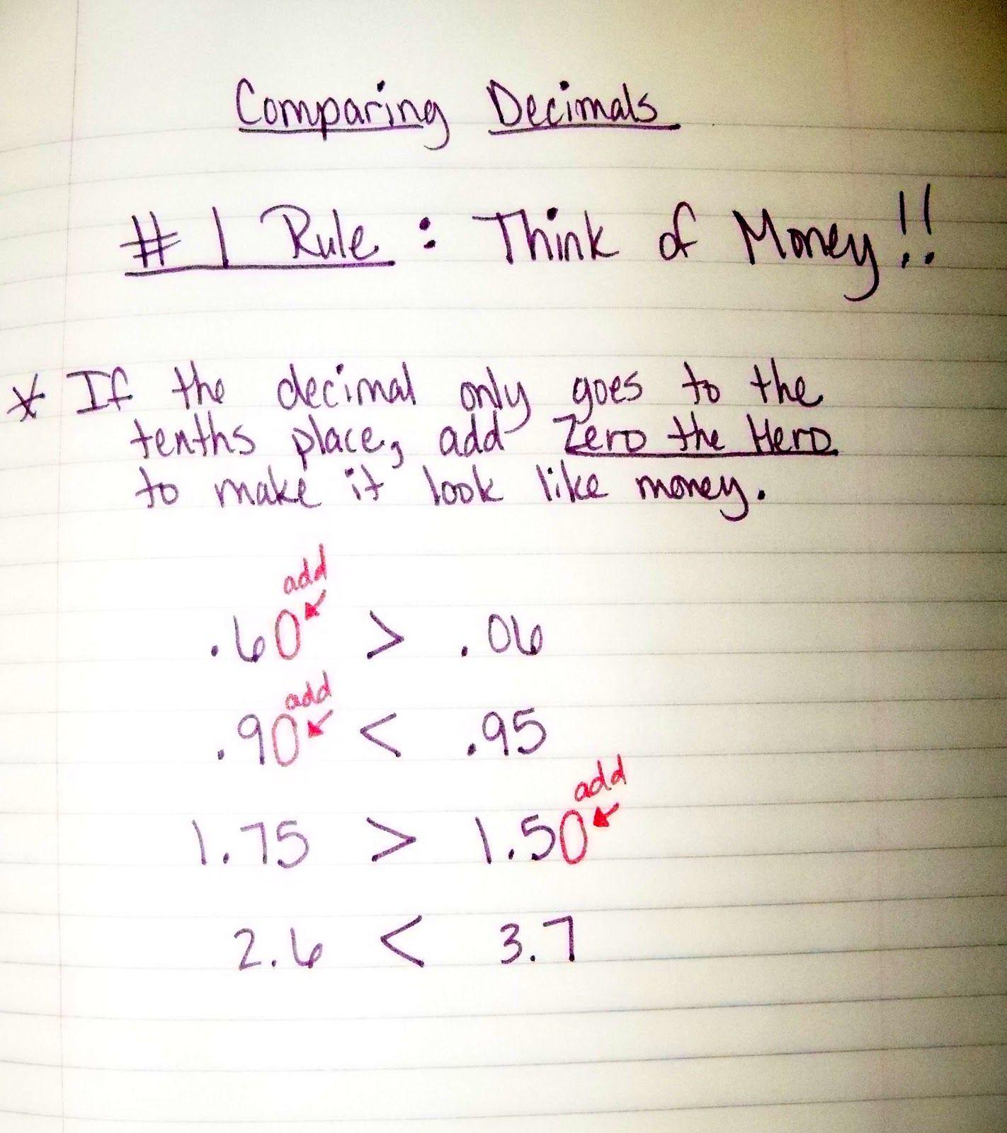 The 4th Grade May Niacs Comparing Decimals