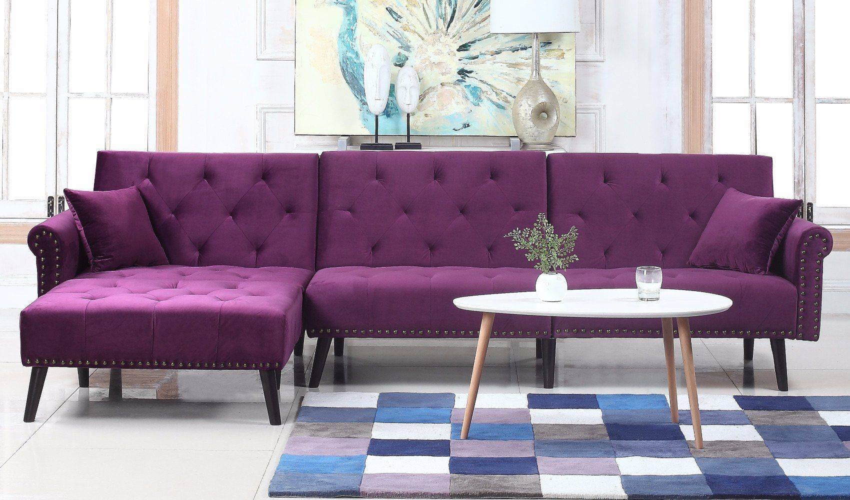 Velvet Sleeper Futon Sofa L Shape Sectional Couch w/ Reclining Backrest u0026 Chaise Lounge : purple sectional sofa chaise - Sectionals, Sofas & Couches