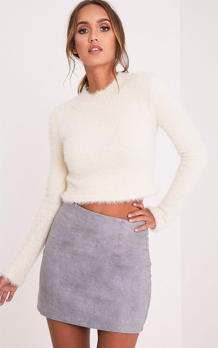4f1cae115a Fur Styled White Top Teamed With Dove Grey Skirt #Miniskirt #Skirt  #Womenfashion #Greyskirt #Whitetop #Sleevetop #Top