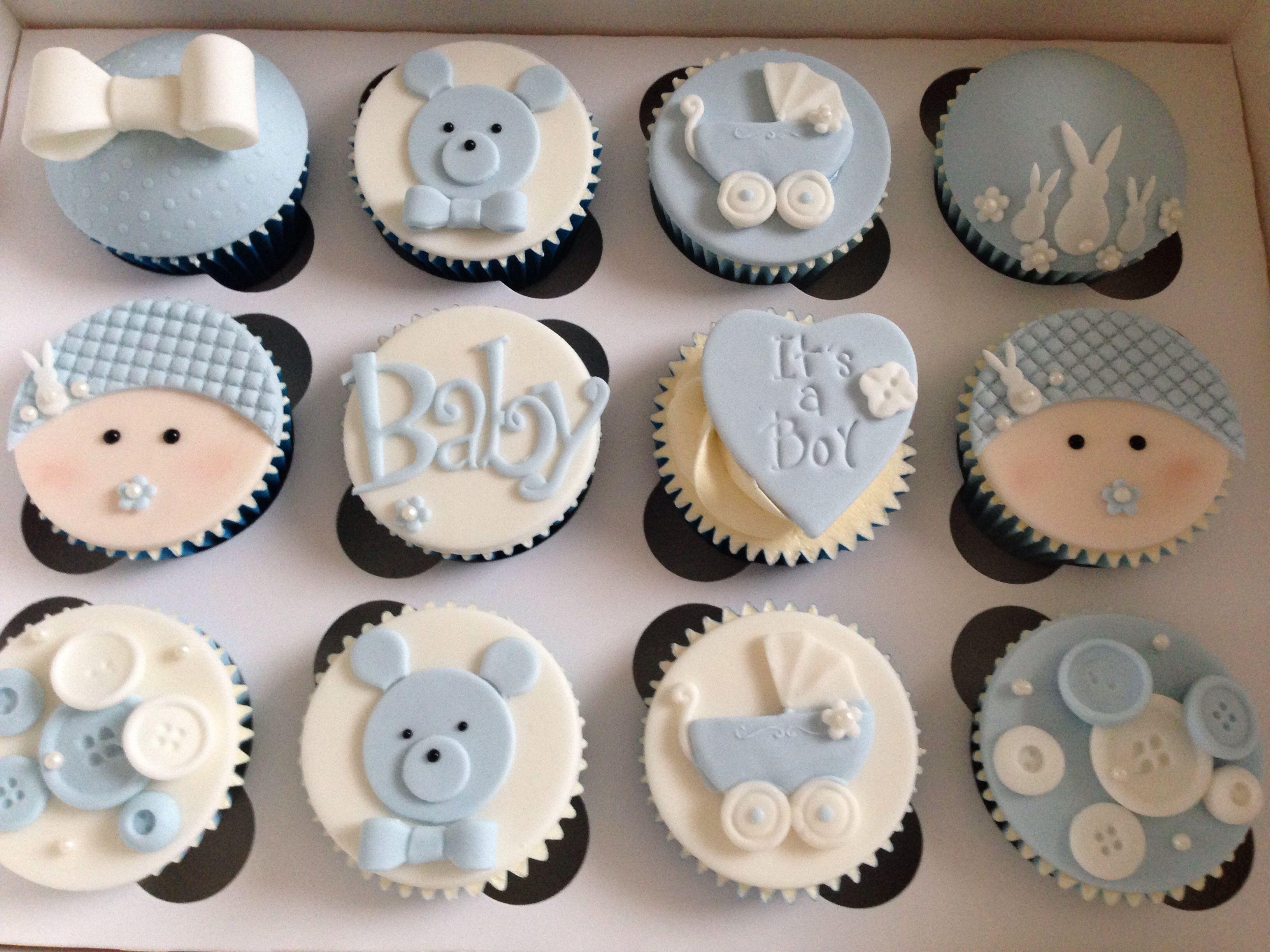 Baby boy cupcakes | recuerdos de bautismo en 2018 | Baby ...