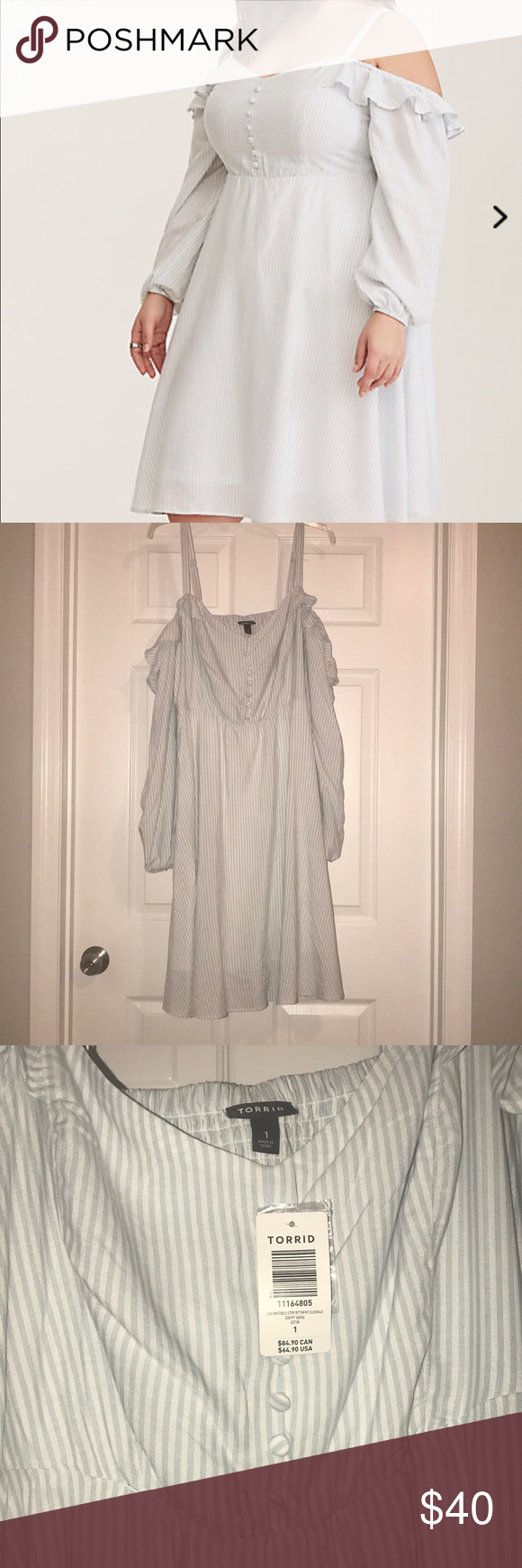 a6f70958f4b Torrid cold shoulder dress Blue White Striped Cold Shoulder Challis Dress  Torrid size 1 Perfect for spring! You can totally wear this with wedges