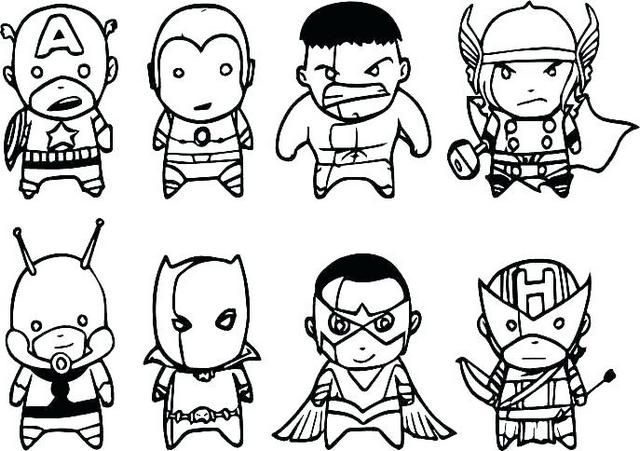 Marvels The Avengers Characters Set Of 7 Fridge Magnets Coloring Page Gambar