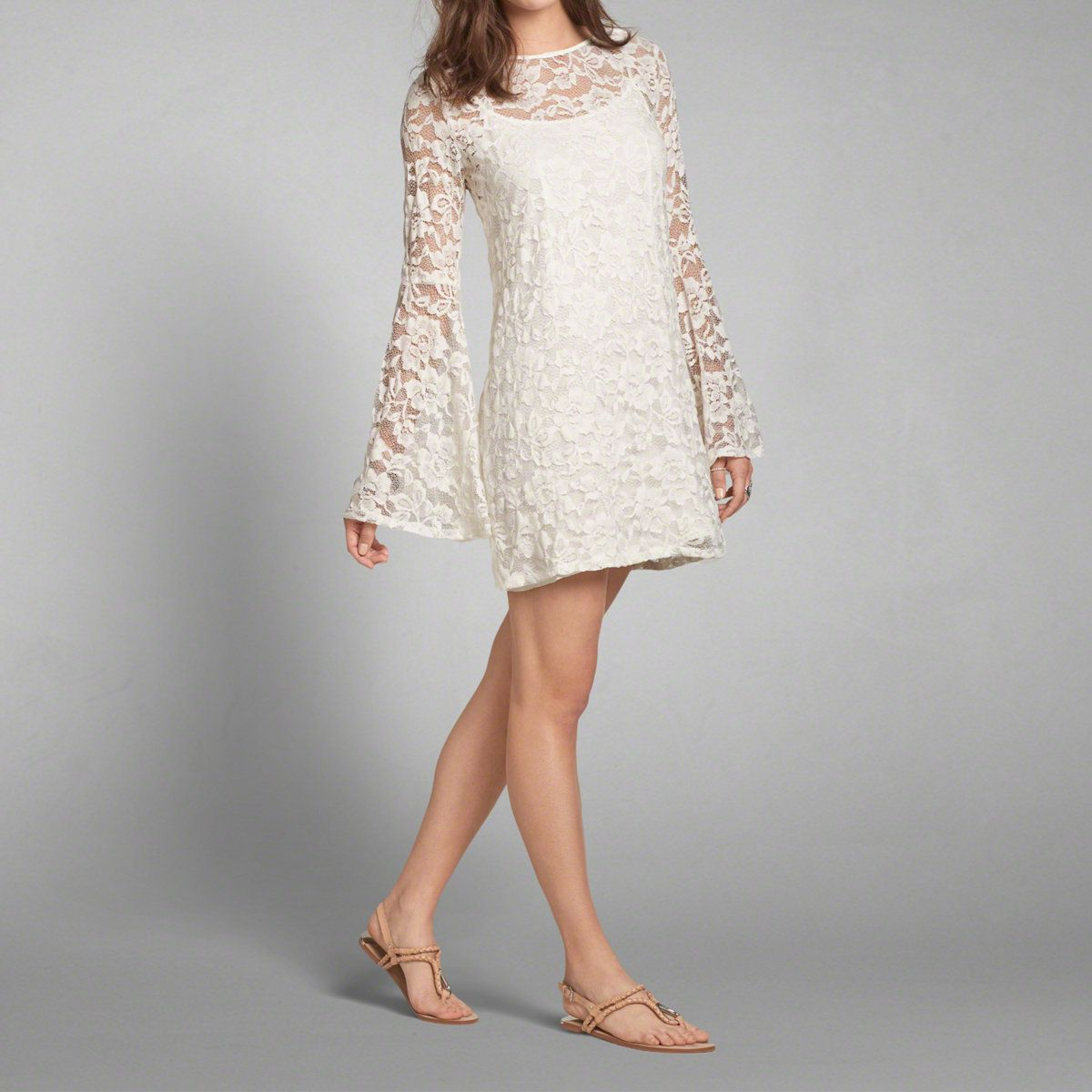 Womens Lace Bell Sleeve Shift Dress | Womens Dresses & Rompers | Abercrombie.com