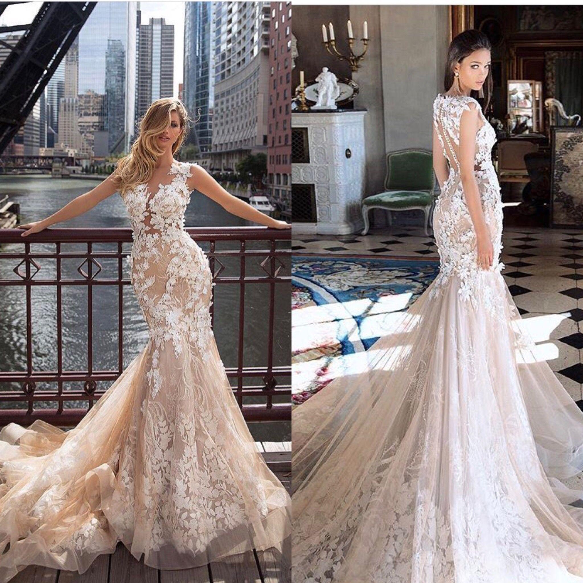 Preziosissimo Abito A Sirena In Pizzo Con Fiori In 3 D In Colore Schampagne Abiti Da Sposa A Sirena Nel 2019 Pinterest Wedding Dresses Lace Weddings E