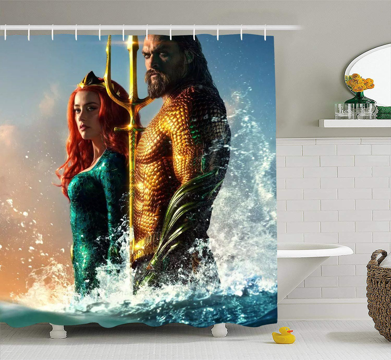 Aquaman Arthur And Mera Shower Curtain With Hooks Aquaman