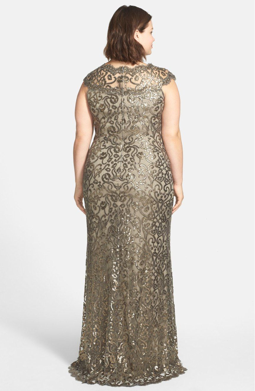 Free shipping and returns on Tadashi Shoji Sequin Lace Gown (Plus ...