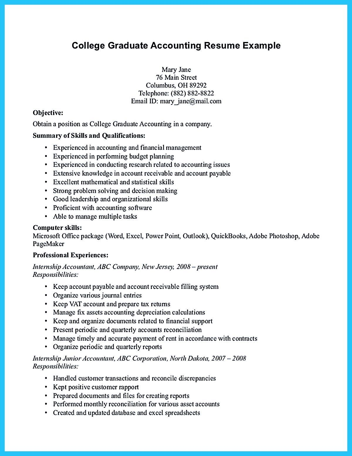 The Accounting Student Resume No Experience Will Focus On T Objective