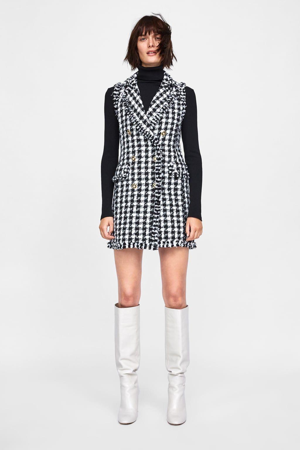 Women's Clothing New 2019 Winter Brand Ladies Wool Tweed Weave Plaid Bow Tassel Dress Women Sweet Pearl Pocket Half Sleeve Mini A Line Dress Wide Selection;