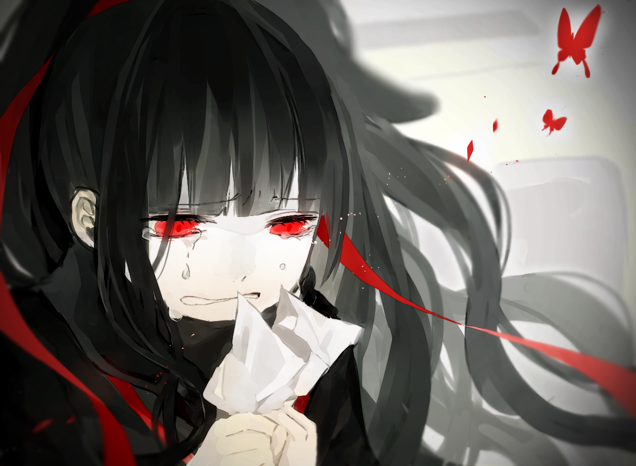 1girl artist_request azami_(kagerou_project) black_hair