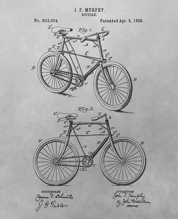 1898 Bicycle Patent Drawing