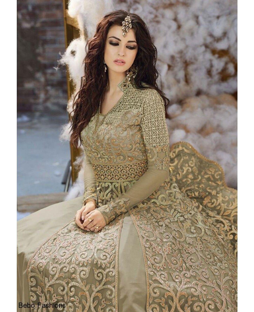 A truly stunning laurel green colour wedding festive dress is an