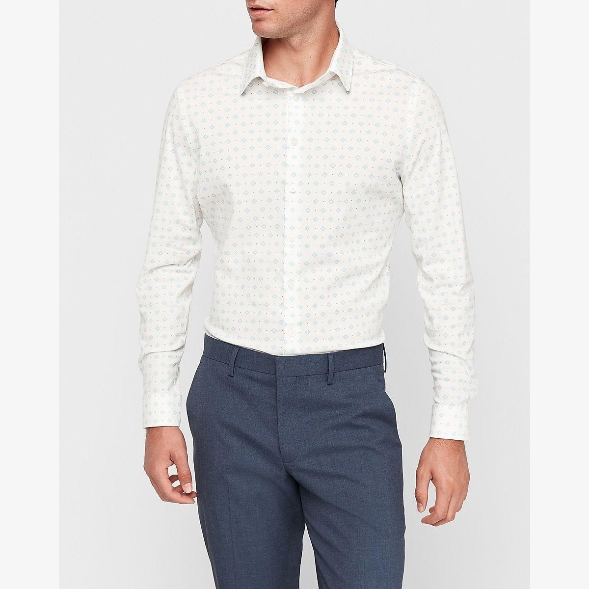 Extra Slim Diamond Geometric Print Dress Shirt White Men's L 2