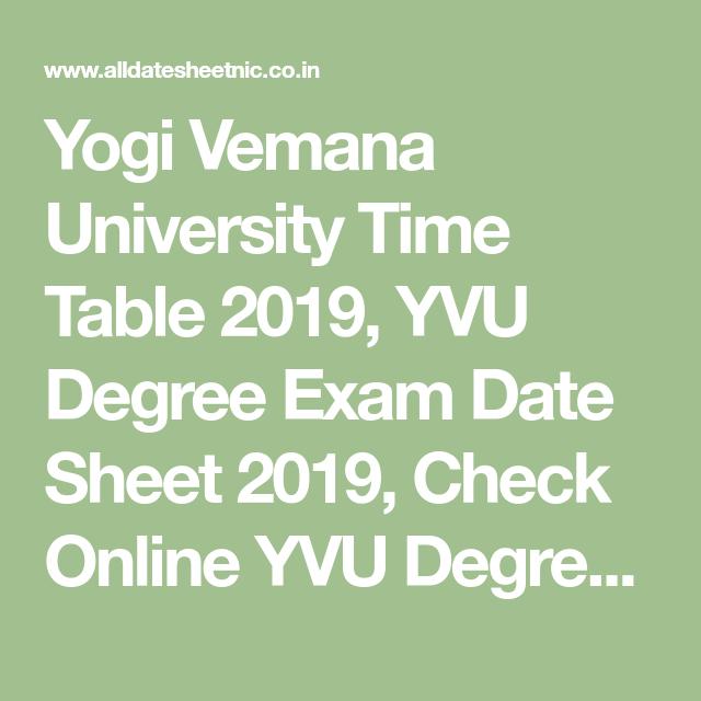 Yogi Vemana University Time Table 2019 Yvu Degree Exam Date Sheet 2019 Check Online Yvu Degree Exam Time Table Yvu Degree Ba Bsc B University Exam Education