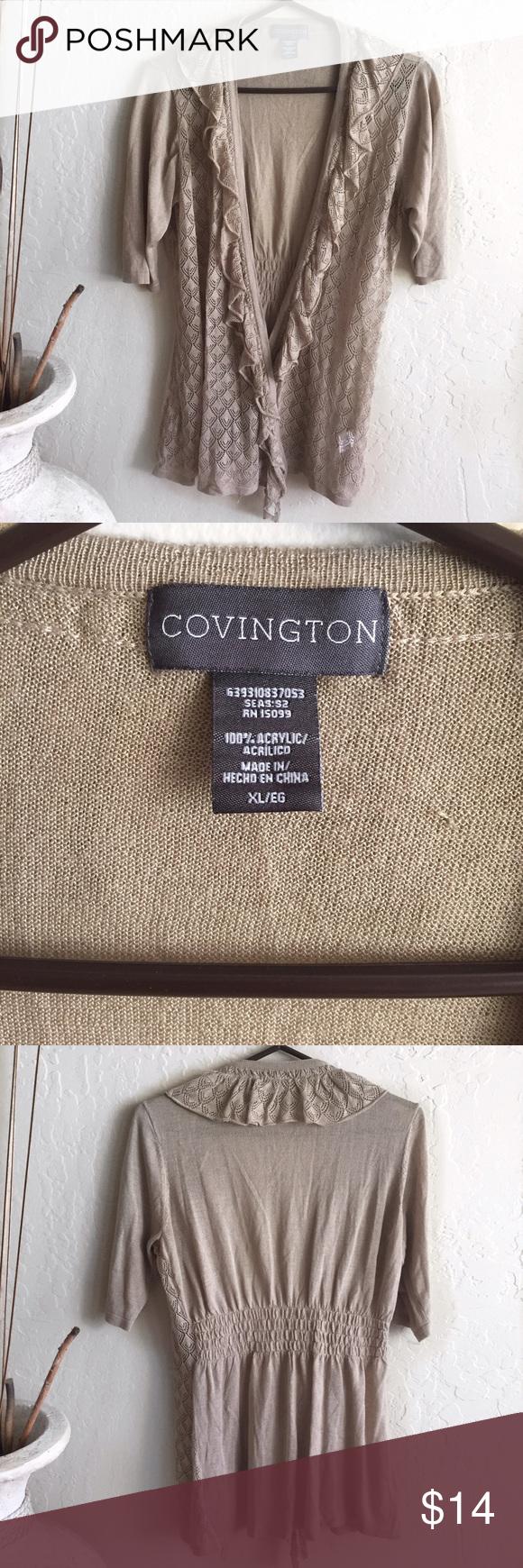 Lace cardigan tan lightweight sweater top ruffled Lightweight ...