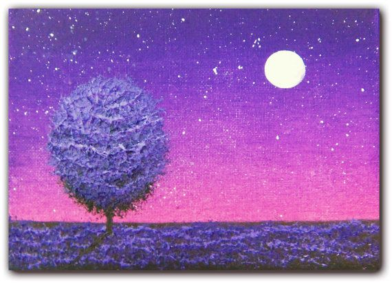 Night Scene Oil Painting Starry Night Sky Original Art Contemporary Art Nightscape Landscape Painting Purple Night Painting 5 X 7 Night Painting Moon Painting Night Scene