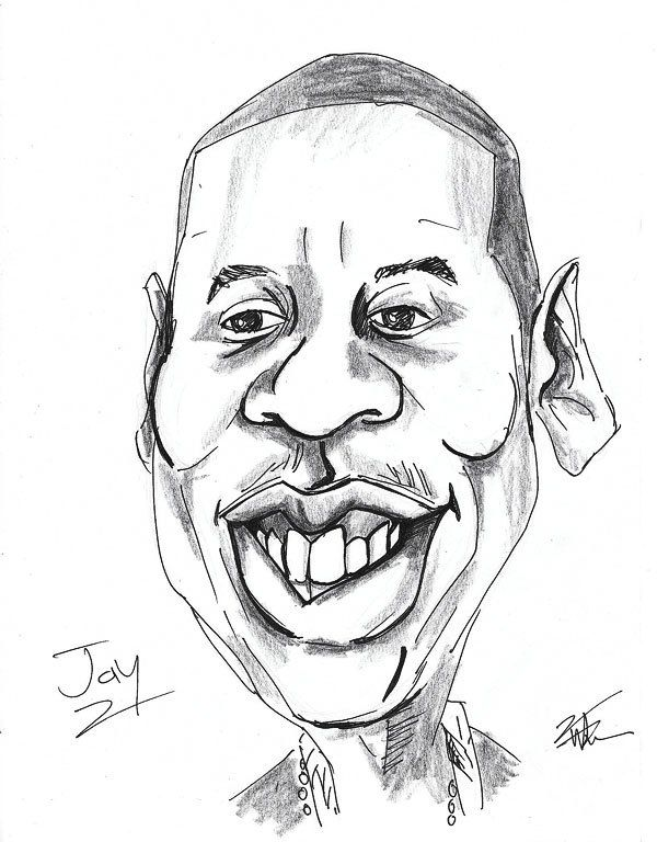 caricature dessin noir et blanc portrait jay z rappeur. Black Bedroom Furniture Sets. Home Design Ideas