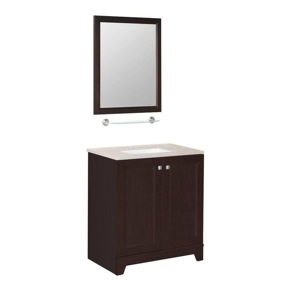 Glacier Bay Madison 30 1 2 In W Vanity In Java With Solid Surface Vanity Top In Sand And Mirror Ppmdsjvm30ms The Home Depot Solid Surface Vanity Top Vanity Top Bathroom Decor [ 1000 x 1000 Pixel ]