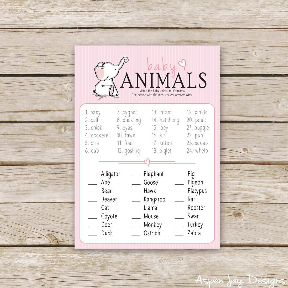 Pink Elephant Baby Animal Names Animal matching game