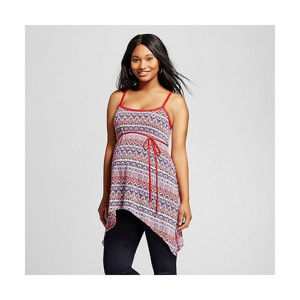 Maternity Sleeveless Print Sharkbite Top Red/Blue ($22) ❤ liked on Polyvore featuring maternity and red
