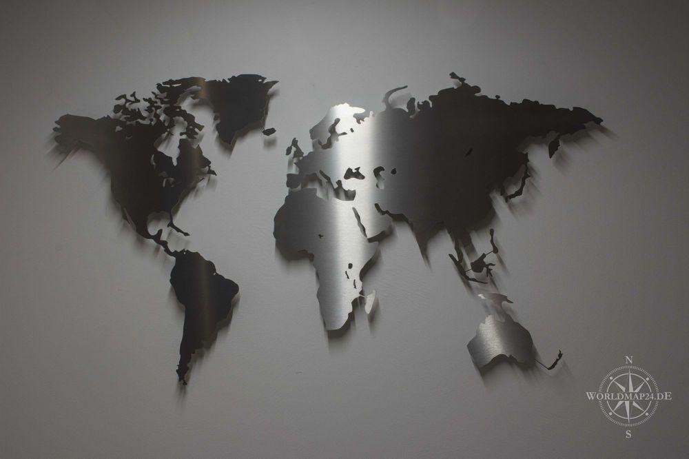 Weltkarte Aus Edelstahl   Wanddekoration (Wandbild, Stahl, Metall, Modern,  Deko)