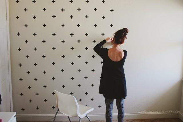 Colores Para Pintar Un Salon Con Gotele.Diy Efecto Papel Pintado Con Cruces En Paredes Gotele Washitape